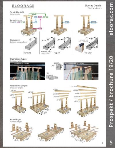 """Seite 5 des Eloorac Prospektes: Eloorac Transport Gestelle werden generell mit einer glatten unteren Kufe ausgeliefert. Auf Wunsch montieren wir einen Keil der einen 90° Winkel entstehen läßt. Der Keil ist als reiner Holzkeil oder in Verbindung mit einem Auflageprofil (PVC/Gummi) erhältlich. Die oberen Querleisten des Eloorac Systems gibt es in der """"Q"""" und in der stabileren """"QT"""" Ausführung. Gerade bei Glastransporten bzw. Glasböcken werden die QT-Leisten eingesetzt. Mit diesen ist eine sichere Ladungsbefestigung gewährleistet."""