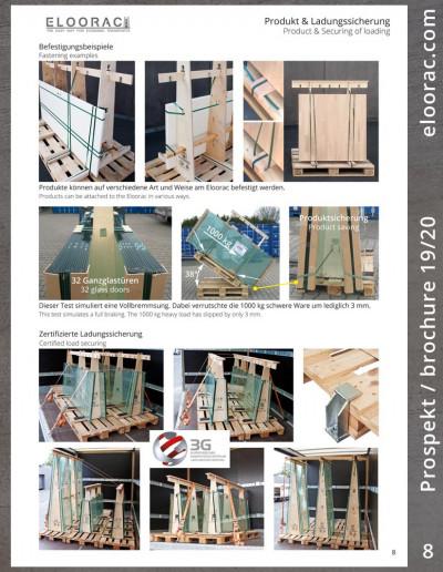 Seite 8 des Eloorac Prospektes: Die Abbildung zeigt oben einige Möglichkeiten wie Ware an Transportgestellen von Eloorac befestigt werden kann. Darunter ein Glastransportgestell welches mit 1000 kg Glas beladen ist und einseitig um 38° angehoben wird. Dieser Test simuliert eine Vollbremsung mit dem LKW und wurde bestanden. Unten einige Bilder aus den Eloorac Ladungssicherungsz Zertifikat welcher mit Glastransport Gestellen durchgeführt wurde.