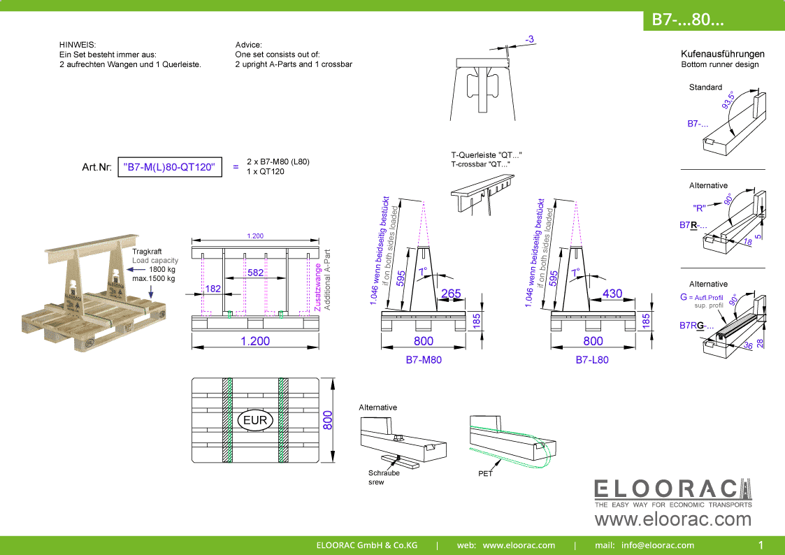 Grundsätzliche Details zum B7-M80 Transport Gestell von Eloorac. Zu sehen sind grundlegende Maße und Eigenschaften des Transport Racks dessen Einsatzbereich im Transport von Naturstein wie Granit oder Marmor, Arbeitsplatte und als Glas Transport Gestell liegt.