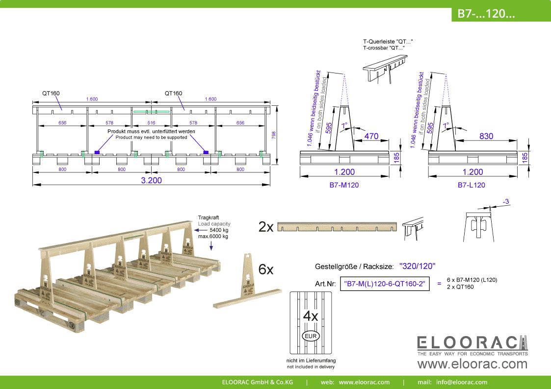 Abbildung des Eloorac Mehrweg Transportgestells B7-M120-6-QT160-2 mit der optional erhältlichen Stabilisierungsplatte, aufgebaut auf 4 miteinander verbundenen Euro bzw. EPAL Paletten. Dieses Transport Gestell wird für den Transport von Naturstein, Granit oder Marmor, Arbeitsplatten und Glas genutzt und hat eine Größe von 320 x 120 x 60 (80) cm (BxTxH).