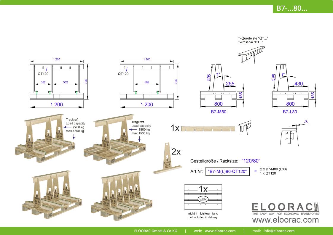 Abbildung des Eloorac Mehrweg Transportgestells B7-M80-QT120 mit der optional erhältlichen Stabilisierungsplatte. Das Transport Gestell für Naturstein wie Granit oder Marmor, Arbeitsplatten und Glas, hat eine Größe von von 120 x 80 x 60 (80) cm (BxTxH) und wird auch als Lagergestell oder A-Bock Gestell für die Unterbringung von flachen Materialien genutzt.