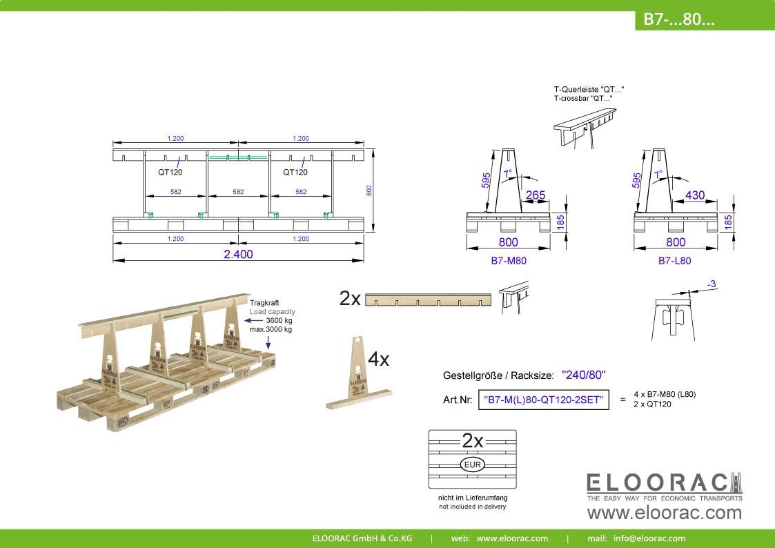 Abbildung des Eloorac Mehrweg Transportgestells B7-M80-QT120-2 mit der optional erhältlichen Stabilisierungsplatte, welches aus 2 Standard Sets zu einem langen Transportgestell zusammen gesetzt wurde. Dieses Transport Gestell welches auch für Naturstein wie Granit oder Marmor, Arbeitsplatten und Glas genutzt wird, hat eine Größe von von 240 x 80 x 60 (80) cm (BxTxH).