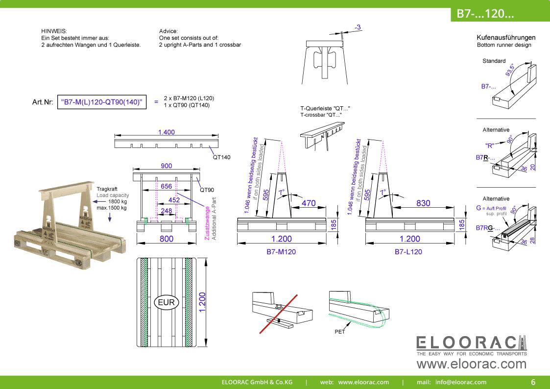 Grundsätzliche Details zum B7-M120 Transport Gestell von Eloorac. Zu sehen sind grundlegende Maße und Eigenschaften des Transport Racks dessen Einsatzbereich im Transport von Naturstein wie Granit oder Marmor, Arbeitsplatten und Glas liegt.