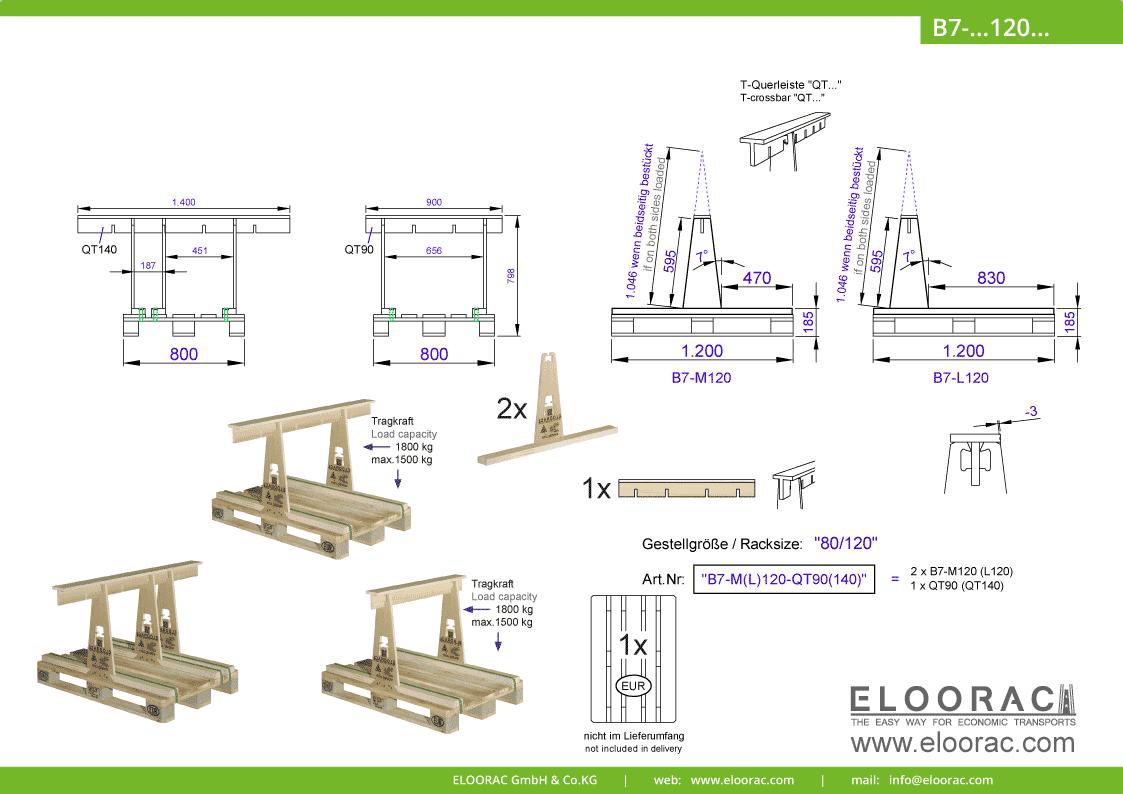 Abbildung des Eloorac Mehrweg Transportgestells B7-M120-QT... mit der optional erhältlichen Stabilisierungsplatte. Das Transport Gestell für Naturstein wie Granit oder Marmor, Arbeitsplatten und Glas hat eine Größe von von 80 x 120 x 60 (80) cm (BxTxH) und wird auch als Lagergestell oder A-Bock Gestell für die Unterbringung von flachen Materialien genutzt.