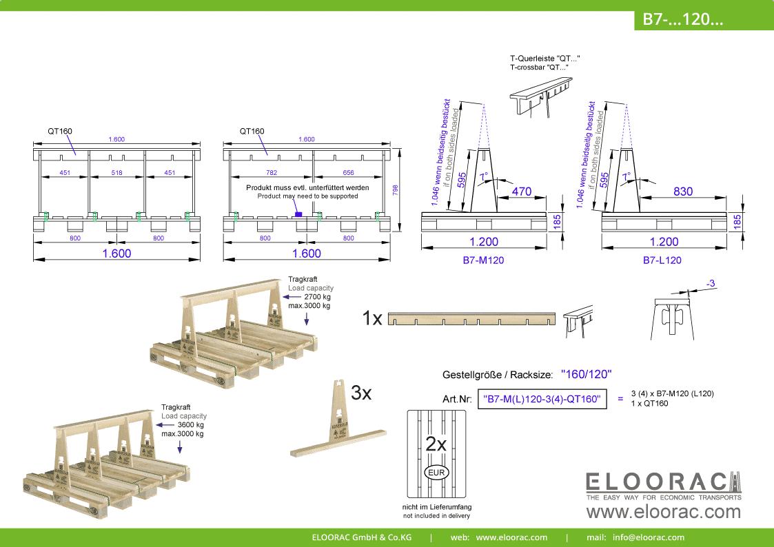 Abbildung des Eloorac Mehrweg Transportgestells B7-M120-QT160 mit der optional erhältlichen Stabilisierungsplatte, aufgebaut auf 2 miteinander verbundenen Euro bzw. EPAL Paletten. Dieses Transport Gestell welches auch für Naturstein, Granit oder Marmor, Arbeitsplatten und Glas genutzt wird, hat eine Größe von von 160 x 120 x 60 (80) cm (BxTxH).