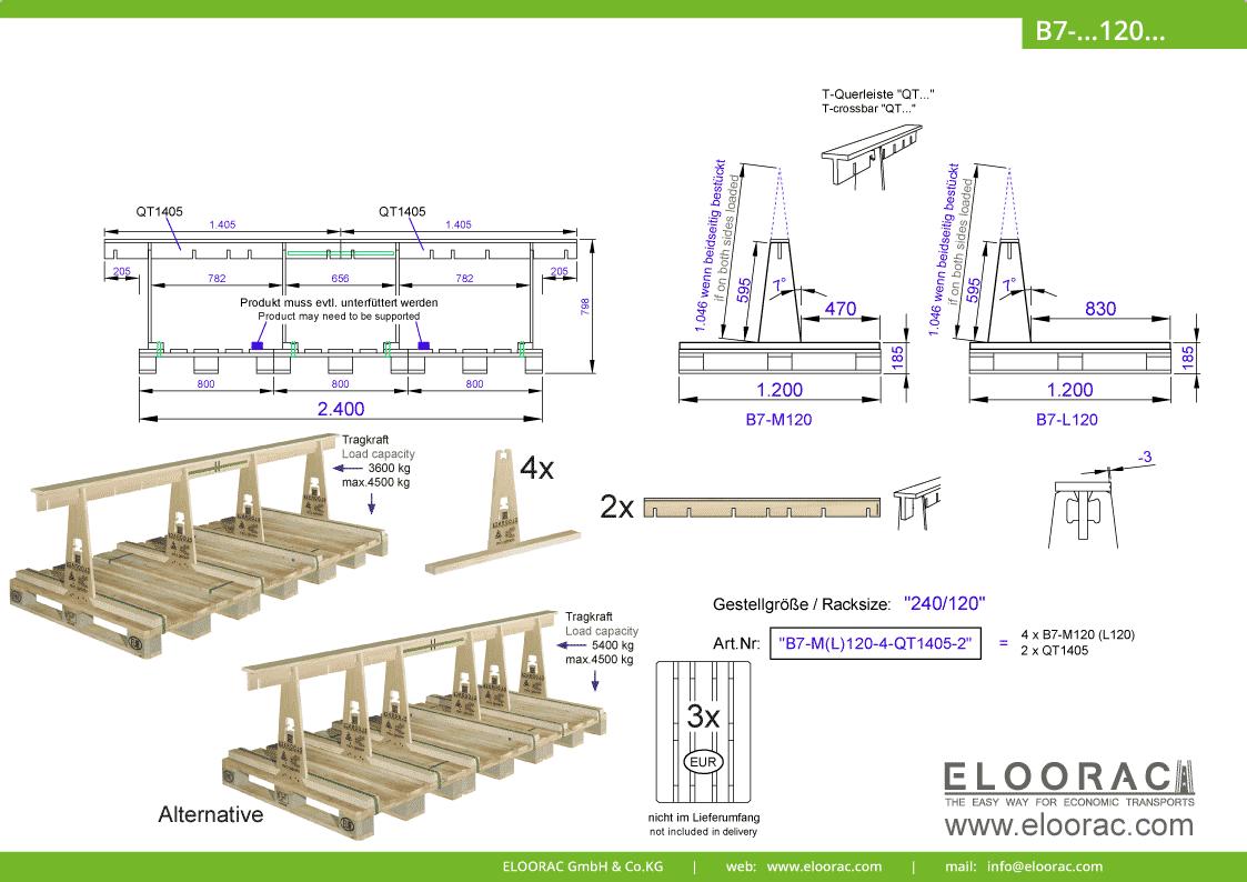 Abbildung des Eloorac Mehrweg Transportgestells B7-M120-6-QT1405-2 mit der optional erhältlichen Stabilisierungsplatte, aufgebaut auf 3 miteinander verbundenen Euro bzw. EPAL Paletten. Dieses Transport Gestell wird für den Transport von Naturstein, Granit oder Marmor, Arbeitsplatten und Glas genutzt und hat eine Größe von von 240 x 120 x 60 (80) cm (BxTxH).