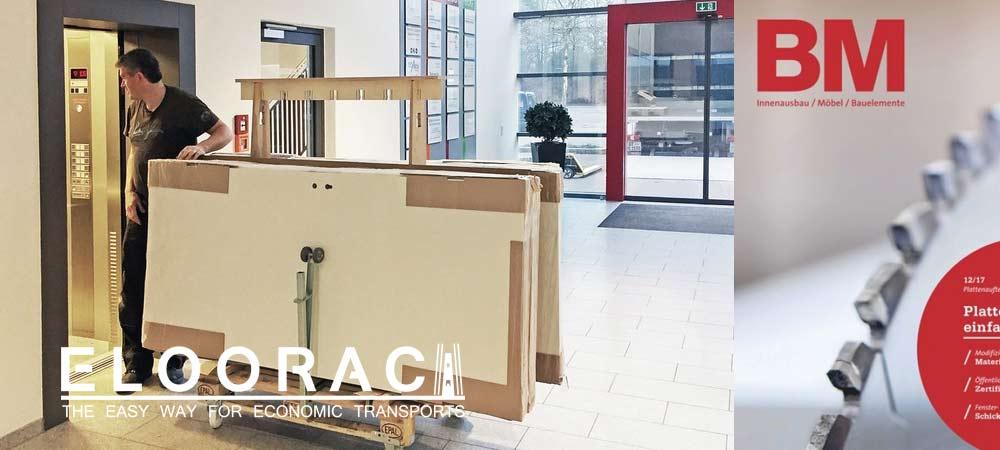 BM-online Darstellung eines rollbaren Eloorac Transport Gestells. Zu sehen ist der Transport von Türen die auf einem Eloorac Gestell mit angesteckten Rollen in einen Aufzug gefahren werden.
