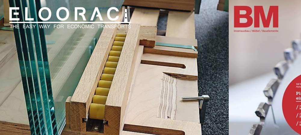 """BM-online Darstellung der """"Runway"""" Auszugshilfe zum herausziehen von Glasscheiben bzw. Ganzglastüren. Die Auszugshilfe paßt unter jedes Eloorac Transport Gestell und ist sehr einfach zu montieren."""
