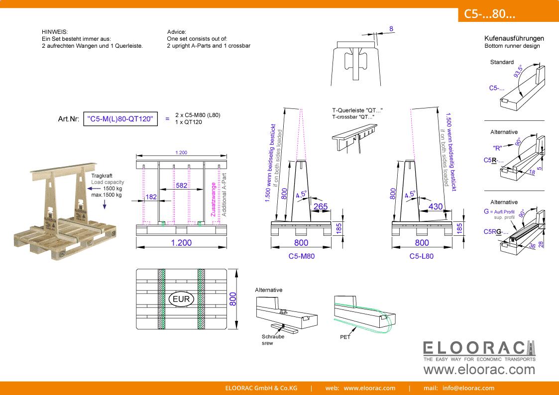 Grundsätzliche Details zum C5-M80 Transport Gestell von Eloorac. Zu sehen sind grundlegende Maße und Eigenschaften des Transport Racks dessen Einsatzbereich im Transport von Naturstein wie Granit oder Marmor, Blech, Holzplatten, Arbeitsplatte und als Glas Transport Gestell liegt.