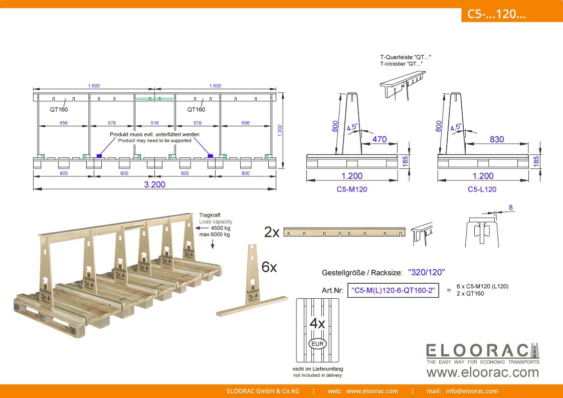 Abbildung des Eloorac Mehrweg Transportgestells C5-M120-6-QT160-2 mit der optional erhältlichen Stabilisierungsplatte, aufgebaut auf 4 miteinander verbundenen Euro bzw. EPAL Paletten. Dieses Transport Gestell wird für den Transport von Naturstein, Granit oder Marmor, Blech, Holzplatten, Arbeitsplatten und Glas genutzt und hat eine Größe von 320 x 120 x 80 (100) cm (BxTxH).