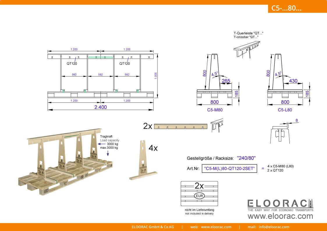 Abbildung des Eloorac Mehrweg Transportgestells C5-M80-QT120-2 mit der optional erhältlichen Stabilisierungsplatte, welches aus 2 Standard Sets zu einem langen Transportgestell zusammen gesetzt wurde. Dieses Transport Gestell welches auch für Naturstein wie Granit oder Marmor, Blech, Holzplatten, Arbeitsplatten und Glas genutzt wird, hat eine Größe von von 240 x 80 x 80 (100) cm (BxTxH).