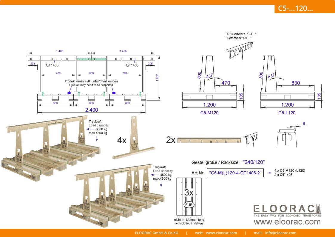 Abbildung des Eloorac Mehrweg Transportgestells C5-M120-6-QT1405-2 mit der optional erhältlichen Stabilisierungsplatte, aufgebaut auf 3 miteinander verbundenen Euro bzw. EPAL Paletten. Dieses Transport Gestell wird für den Transport von Naturstein, Granit oder Marmor, Blech, Holzplatten, Arbeitsplatten und Glas genutzt und hat eine Größe von von 240 x 120 x 80 (100) cm (BxTxH).