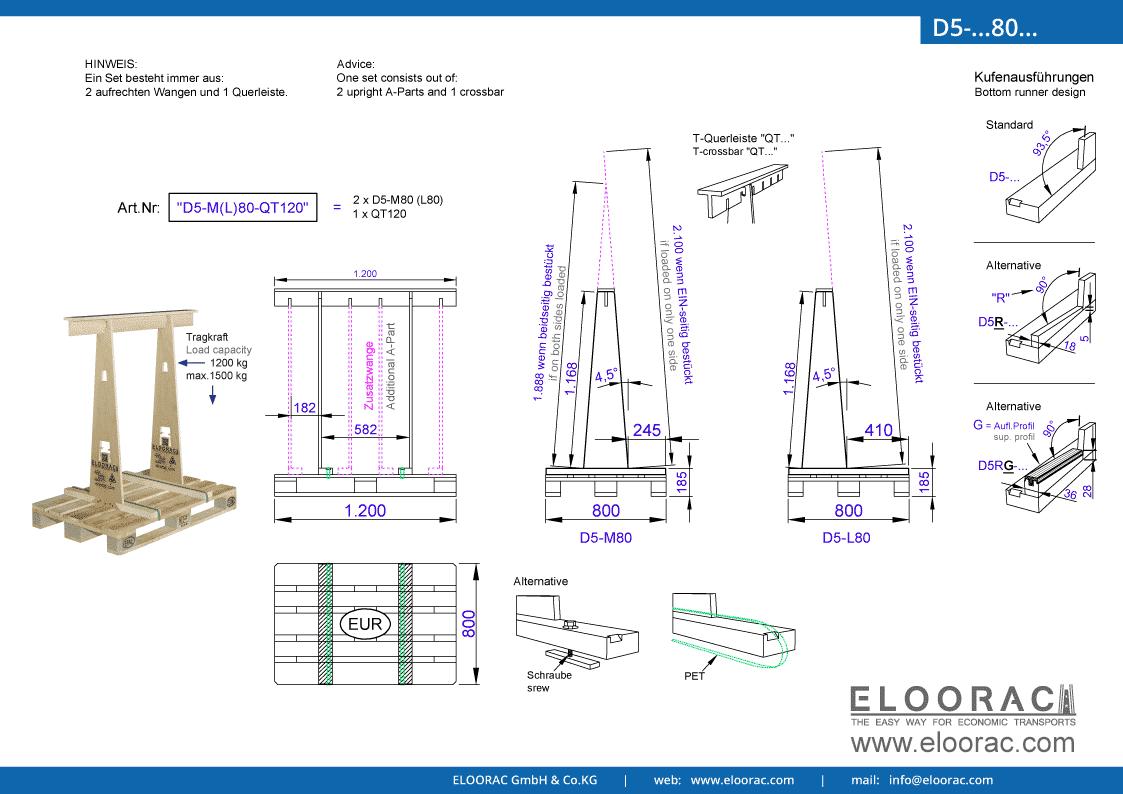 Grundsätzliche Details zum D5-M80 Transport Gestell von Eloorac. Zu sehen sind grundlegende Maße und Eigenschaften des Transport Racks dessen Einsatzbereich im Transport von Naturstein, Granit, Marmor, Blech, Holzplatten und als Glas Transport Gestell, liegt.