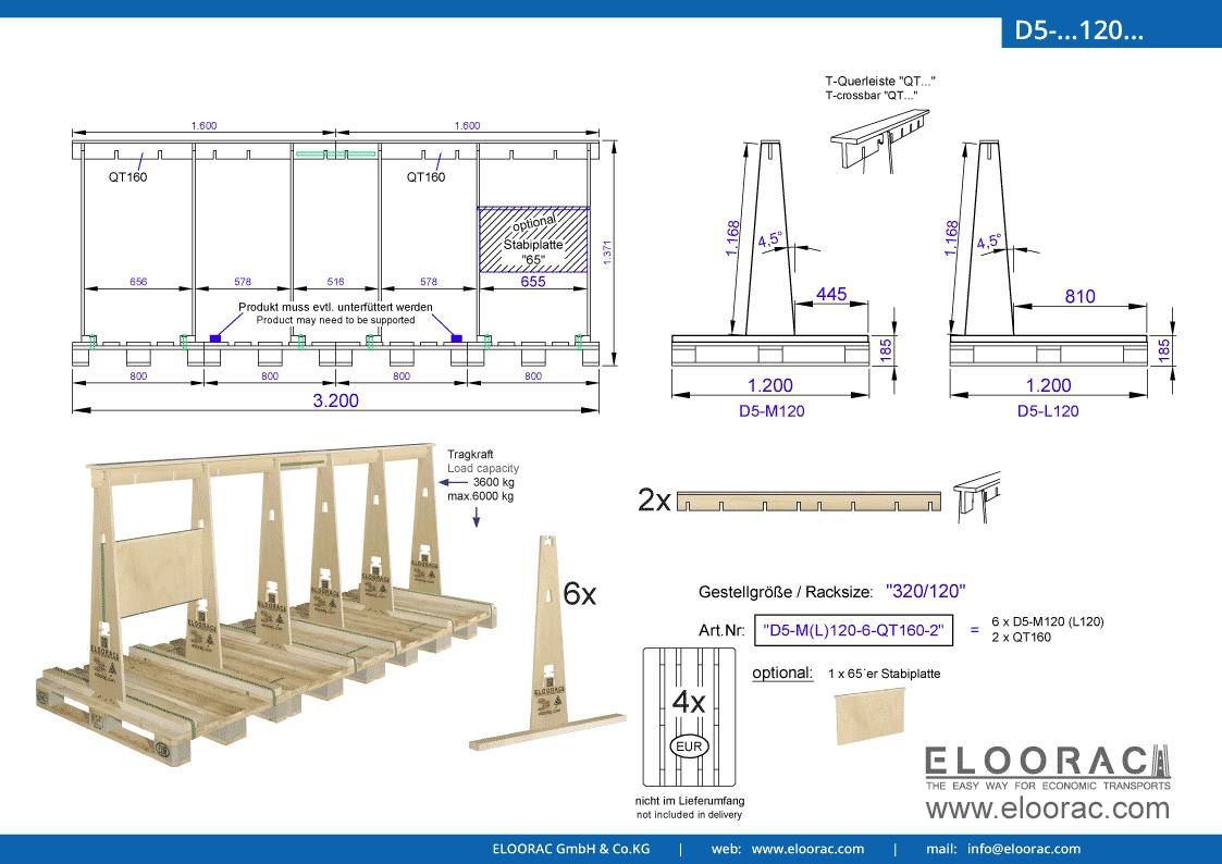 Abbildung des Eloorac Mehrweg Transportgestells D5-M120-6-QT160-2 mit der optional erhältlichen Stabilisierungsplatte, aufgebaut auf 4 miteinander verbundenen Euro bzw. EPAL Paletten. Dieses Transport Gestell wird für den Transport von Naturstein, Granit oder Marmor, Blech, Holzplatten und Glas genutzt und hat eine Größe von 320 x 120 x 117 (137) cm (BxTxH).