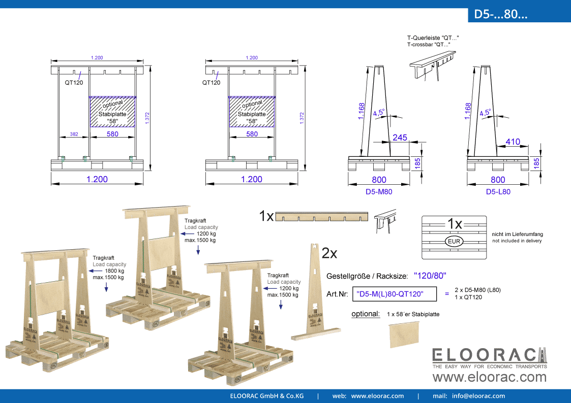 Abbildung des Eloorac Mehrweg Transportgestells D5-M80-QT120 mit der optional erhältlichen Stabilisierungsplatte. Das Transport Gestell für Naturstein wie Granit oder Marmor, Blech, Holzplatten und Glas, hat eine Größe von von 120 x 80 x 117 (137) cm (BxTxH) und wird auch als Lagergestell oder A-Bock Gestell für die Unterbringung von flachen Materialien genutzt.