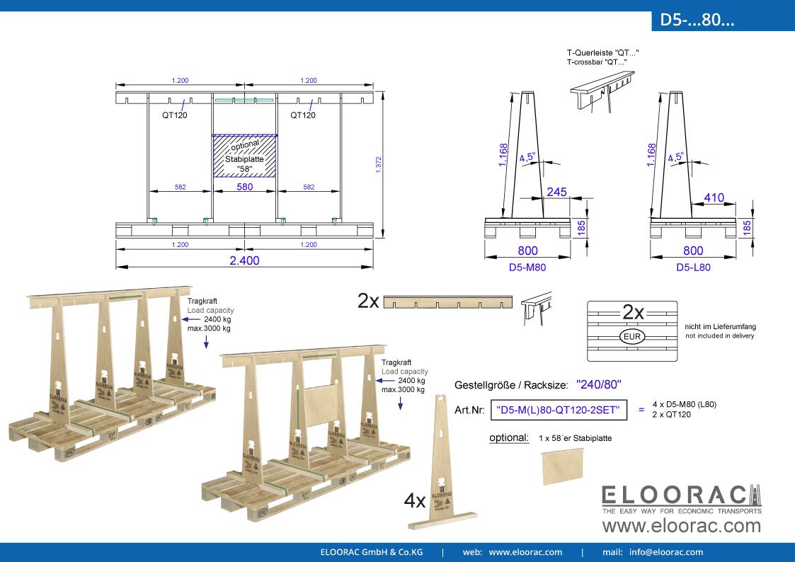 Abbildung des Eloorac Mehrweg Transportgestells D5-M80-QT120-2 mit der optional erhältlichen Stabilisierungsplatte, welches aus 2 Standard Sets zu einem langen Transportgestell zusammen gesetzt wurde. Dieses Transport Gestell welches auch für Naturstein wie Granit oder Marmor, Blech, Holzplatten und Glas genutzt wird, hat eine Größe von von 240 x 80 x 117 (137) cm (BxTxH).