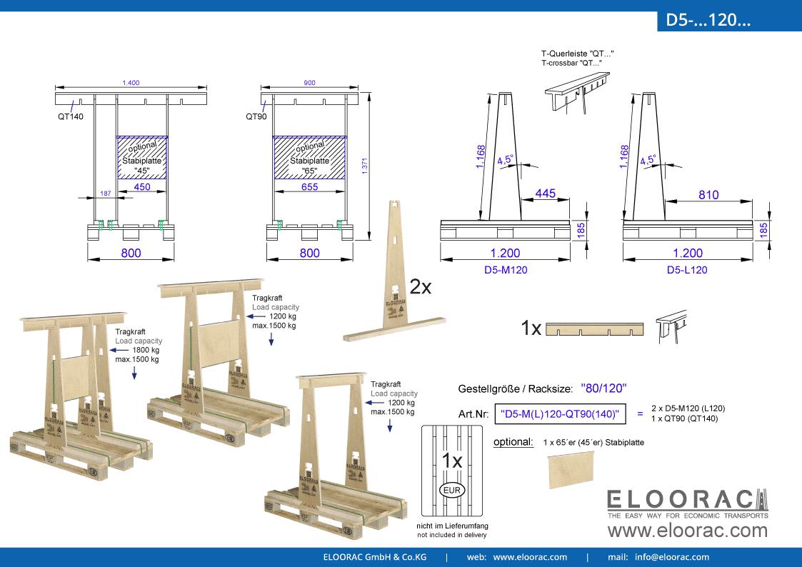 Abbildung des Eloorac Mehrweg Transportgestells D5-M120-QT... mit der optional erhältlichen Stabilisierungsplatte. Das Transport Gestell für Naturstein wie Granit oder Marmor, Blech, Holzplatten und Glas hat eine Größe von von 80 x 120 x 117 (137) cm (BxTxH) und wird auch als Lagergestell oder A-Bock Gestell für die Unterbringung von flachen Materialien genutz