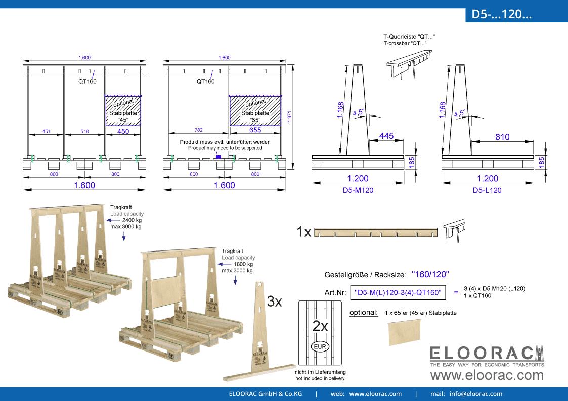 Abbildung des Eloorac Mehrweg Transportgestells D5-M120-QT160 mit der optional erhältlichen Stabilisierungsplatte, aufgebaut auf 2 miteinander verbundenen Euro bzw. EPAL Paletten. Dieses Transport Gestell welches auch für Naturstein, Granit oder Marmor, Blech, Holzplatten und Glas genutzt wird, hat eine Größe von von 160 x 120 x 117 (137) cm (BxTxH).
