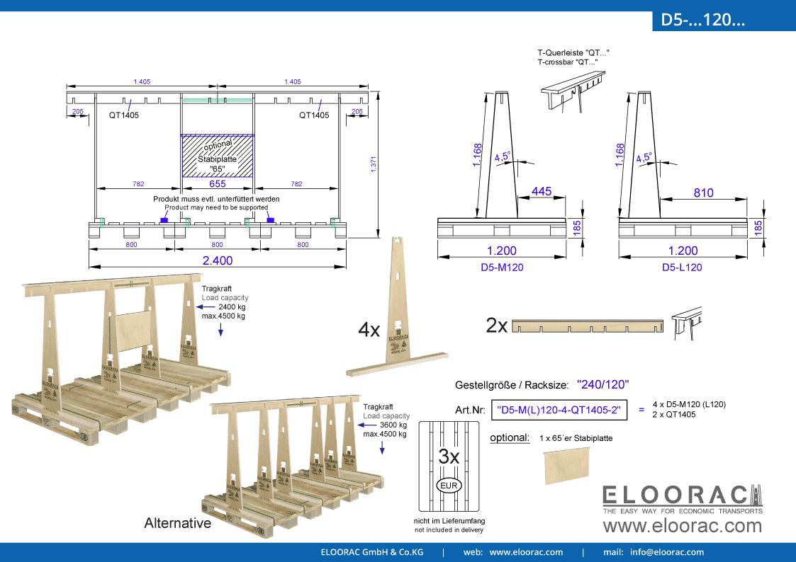 Abbildung des Eloorac Mehrweg Transportgestells D5-M120-6-QT1405-2 mit der optional erhältlichen Stabilisierungsplatte, aufgebaut auf 3 miteinander verbundenen Euro bzw. EPAL Paletten. Dieses Transport Gestell wird für den Transport von Naturstein, Granit oder Marmor, Blech, Holzplatten und Glas genutzt und hat eine Größe von von 240 x 120 x 117 (137) cm (BxTxH).