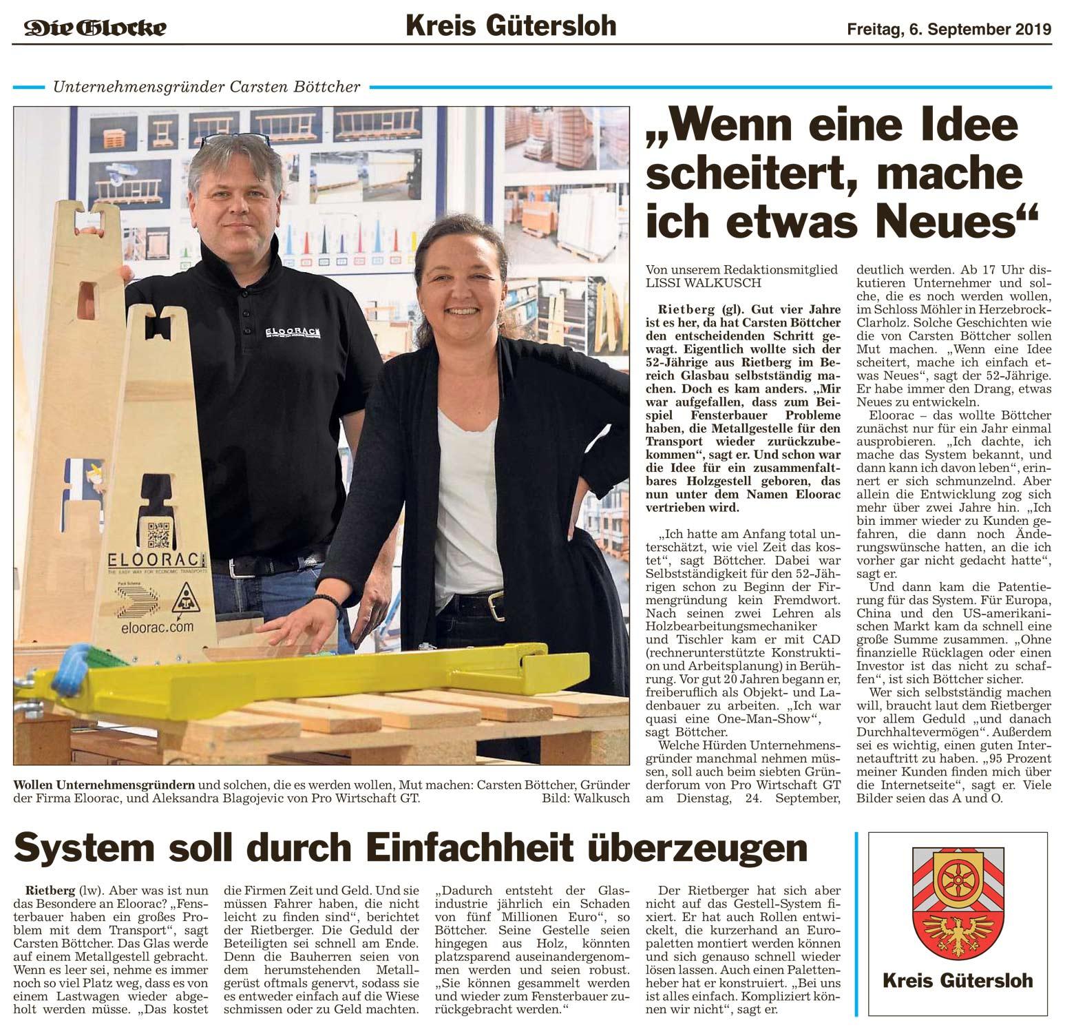 """Eloorac Transport Gestelle: Bericht der Zeitung """"Die Glocke"""" über den Eloorac Transportsysteme Gründer Carsten Böttcher"""