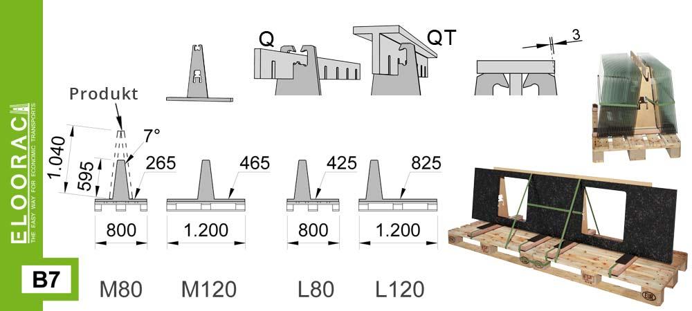 Darstellung Eloorac Transportgestell Modell B7 auf Palette mit Detail Massen. Dieses Transportgestell wird auch als Lagergestell für Natursteinplatten und als Glasbock für kleine Glasscheiben verwendet.
