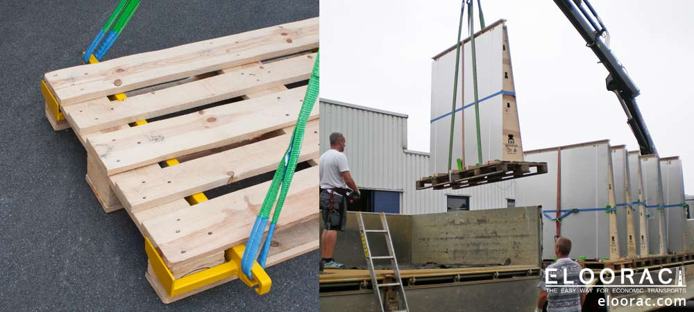 The Beamer pallet lifting device with slings placed correctly on a Euro pallet or EPAL pallet. A truck-mounted crane lifts large metal sheets on Euro pallets from the truck.