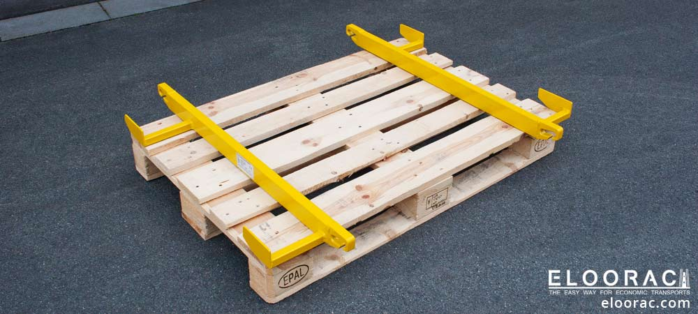 Position of the pallet lifting bar Beamer on a Euro or EPAL pallet.
