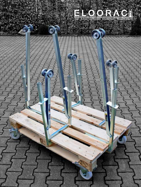 Eloosave clamping safety devices can be placed in many different places on Euro pallets or disposable pallets.