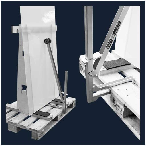 Eloosave clamping safety device for Euro pallets or EPAL pallets can also be placed on non-returnable pallets and secure products.