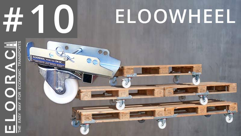Abbildung einer lenkbaren Rolle und verschiedenen Palettenkombinationen unter denen Eloowheel Rollen von Eloorac montiert sind. Das Eloowheel Rollensystem ist so konzipiert, das man kein Werkzeug benötigt um Paletten, egal von welcher Länge, rollbar zu machen. Rein theoretisch können mit Eloowheel Rollen unendlich lange Paletten zum Rollen gebracht werden. Das Video zeigt das bei einem aus 4 Euro Paletten bestehendem Eloorac Transport Gestell.