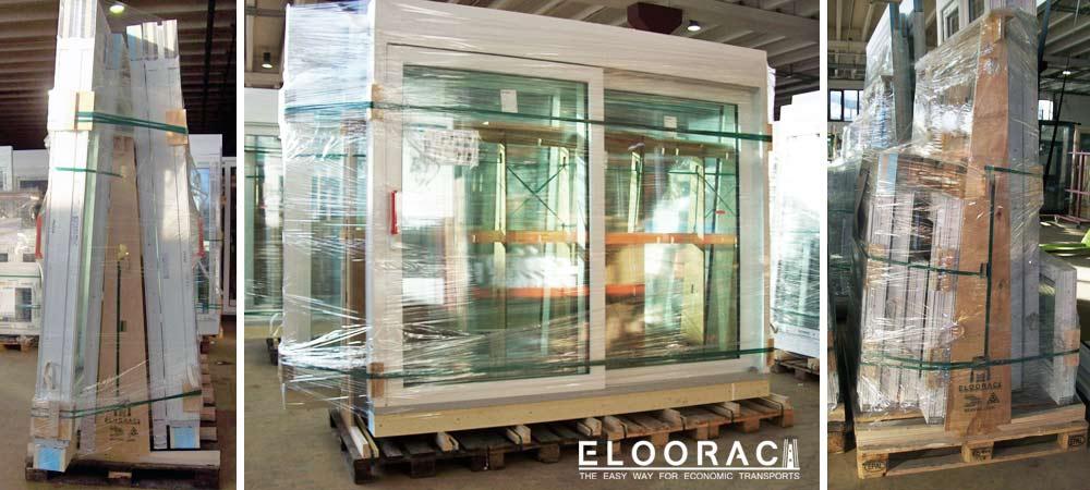 Fenster werden für die Lieferung ins Ausland auf Eloorac Transportgestellen für Fenster gepackt. Auf diese Fenstergestelle sind 8 Fenster platziert. Die offensichtliche Belastbarkeit der Eloorac Gestelle, welche wie immer auf Europaletten montiert sind, wird immer wieder von Kunden bestätigt.