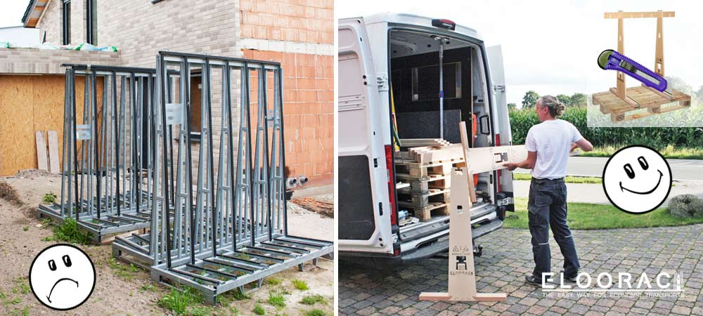 Left: Empty metal frames used for transporting windows are standing on the construction site and waiting for the very complex return transport. Right: An empty Eloorac Transport A-frame is separated or dismantled from the Euro pallet and loaded into an assembly vehicle in a space-saving way.