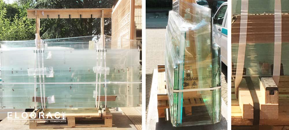 Abbildung eines Eloorac Glastransportgestells beladen mit Gläsern für Duschkabinen und Ganzglastüren. Eine Detailabbildung zeigt das Auflageprofil aus PVC in einer Härte von 70° Shore A.