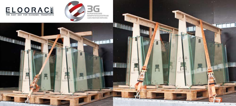 Abbildung von zwei auf einem LKW befestigten Glastransport Gestelle von Eloorac. Die Ladungssicherungsprüfung wurde vom 3G Kompetenzzentrum in Fulda für die Eloorac Transportsysteme duchgeführt.