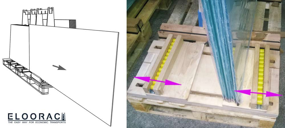 """Abbildung des Eloorac """"RUNWAY"""" Systems / Auszugshilfe. Der Glasauszug wird eingesetzt wenn nicht genügend Platz im Lager vorhanden ist. Der Runway ist für bis zu 10 mm dicke Glastüren konzipiert und kann einfach auf die Palette gelegt werden."""