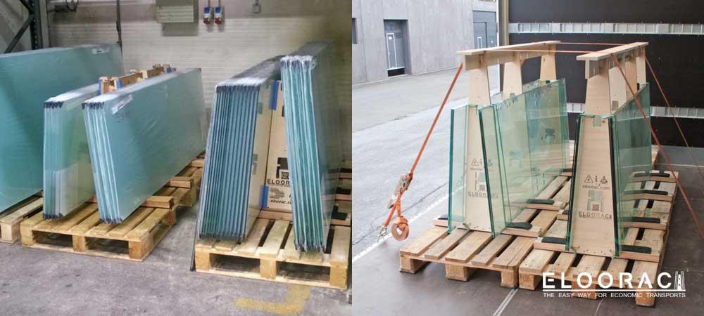 Glas auf dem Glasbock von Eloorac als Lagergestell sowie Glastransportgestell auf dem LKW mit Spangurten gesichert.