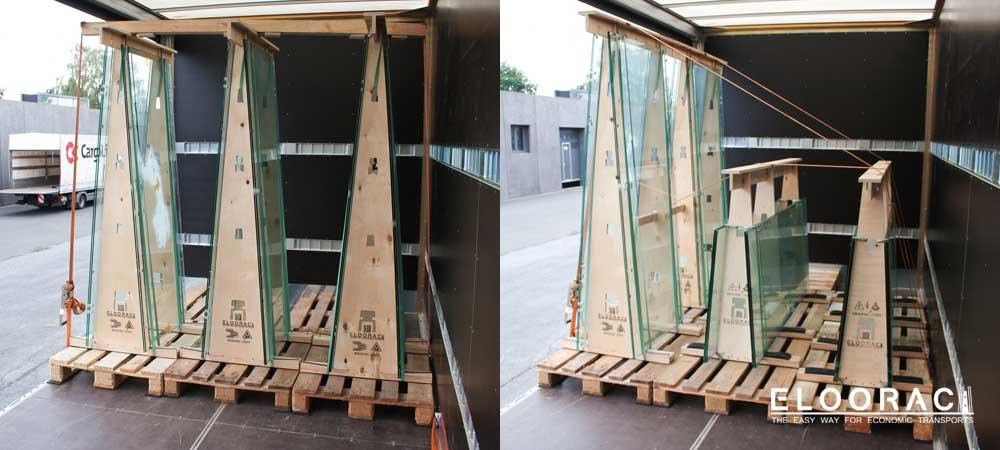 Hohe Glasgestelle von Eloorac mit Spangurten auf dem LKW gesichert.