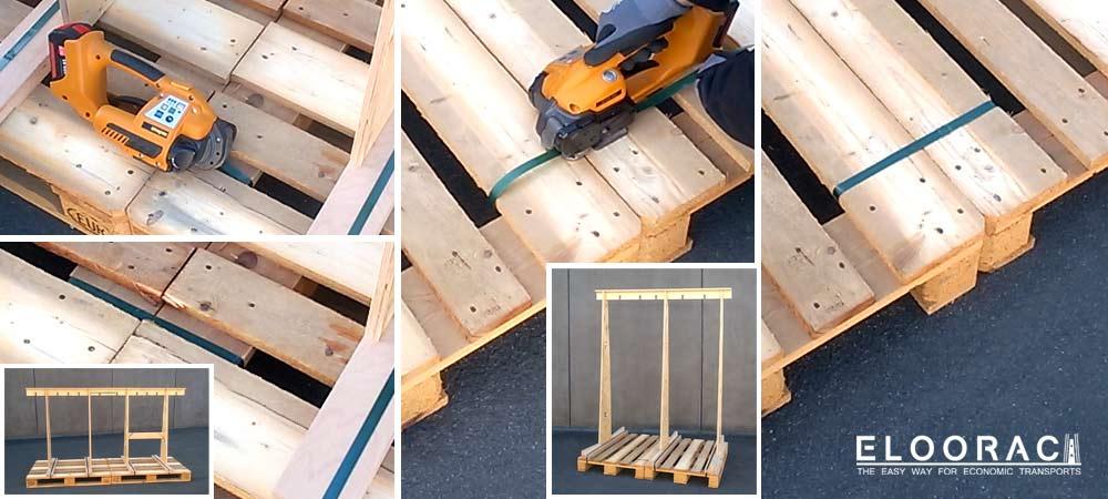 Abbildung der verbundenen Europaletten. Ellorac Transportgestelle können beliebig lang gestaltet werden. Dafür müssen Europaletten miteinander verbunden werden.