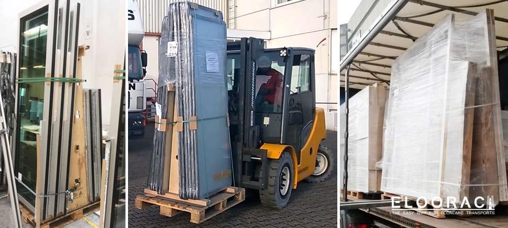 Abbildung verschiedener Einsatzmöglichkeiten der Eloorac Transportgestelle. Als Beispiel sind hier ein Fenstertransportgestell, ein Glasbock für aufrecht zu transportierende Ganzglastüren und Deckenelemente für den Messebau, die auf einem großen Transportgestell gepackt sind, zu sehen.