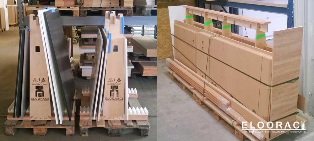 Eloorac Gestelle mit Holzplatten beladen, im Einsatz in der Möbelindustrie.