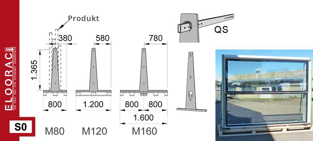 Darstellung Eloorac Transportgestell Modell S0 auf Palette mit Detail Massen. Zum Einsatz kommt dieser Ladungsträger als Haustürtransportgestell sowie Fenstertransportgestell für dicke Fenster.