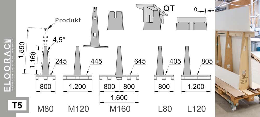 Darstellung Eloorac Glastransportgestell Modell T5 auf Europalette mit Detail Massen. Zum Einsatz kommt dieses Transportgestell auch als Lagergestell für Natursteinplatten, für Glasscheiben oder als Glasbock für Glastüren.