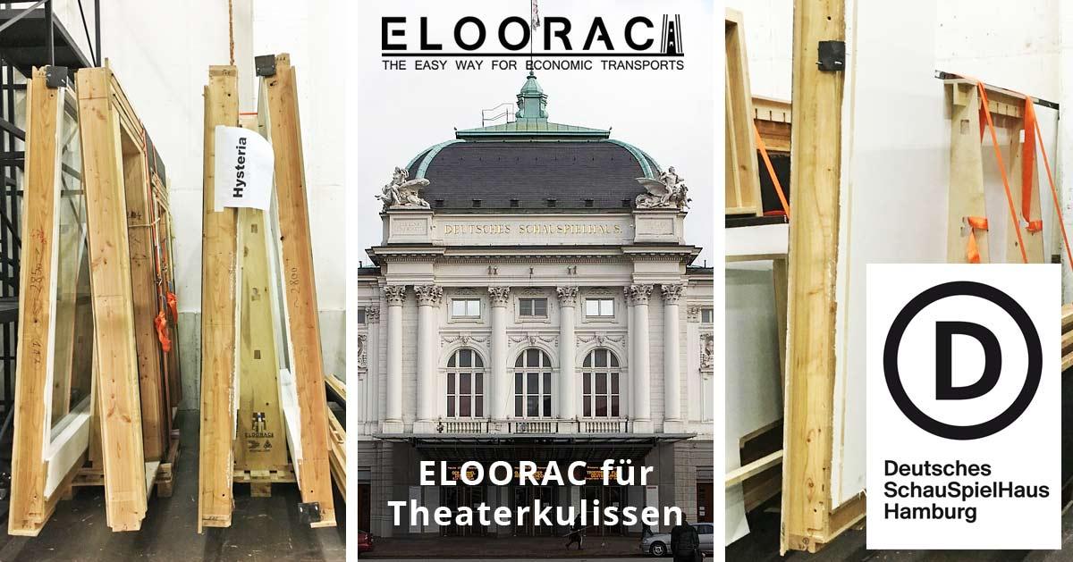 Eloorac Transportgestell im Einsatz als Lagergestell für Theater Kulissen. Das Deutsche Schauspielhaus in Hamburg verwendet das Eloorac System auf vielfache Weise.