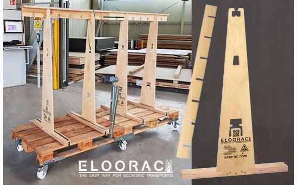 Eloorac Transport Gestell in einer Tischlerei. Ebenso sieht man die einzelnen Elemente die man benötigt um einen A-Bock für Glas, Fenster, Holzplatten oder Bleche zusammen zu stellen. Das Transport Rack ist hier zusätzlich noch mit Eloowheel Lenkrollen bestückt.