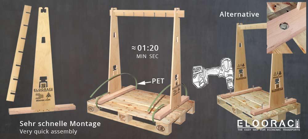 Eloorac A-Gestelle bestehen aus einzelnen Komponenten und werden mit Kunststoffbändern auf EPAL Paletten befestigt. Die Montage des Eloorac Mehrweg A-Gestells funktioniert sehr schnell.