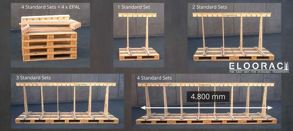 From 4 disassembled Eloorac standard transport racks and Euro pallets or EPAL pallets, a wide variety of Eloorac transport racks are produced.