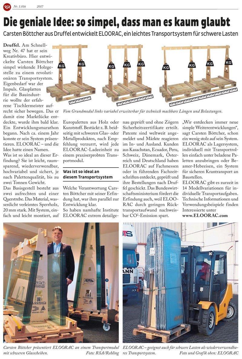 Pressebericht über das Eloorac Transportsystem