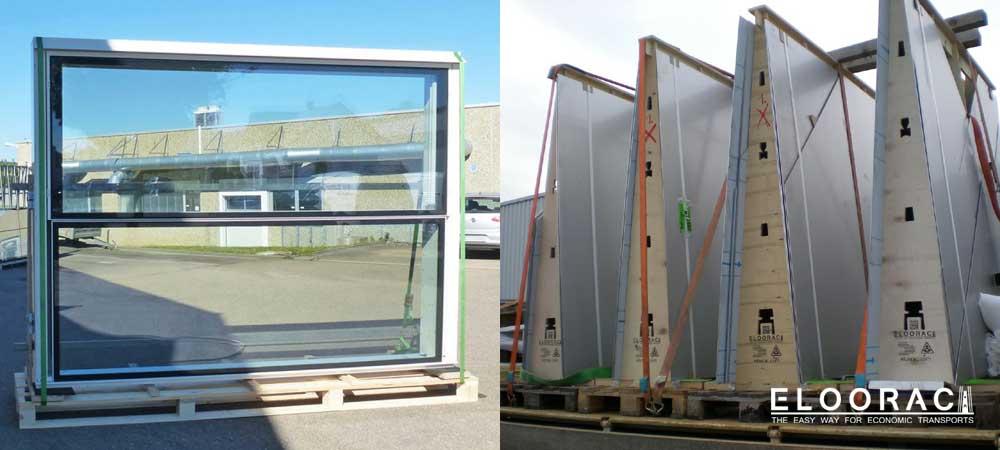 Besonders dicke Fenster stehen aufrecht und gerade auf dem Eloorac Transportgestell sowie Edelstahlbleche beim Transport af dem LKW.