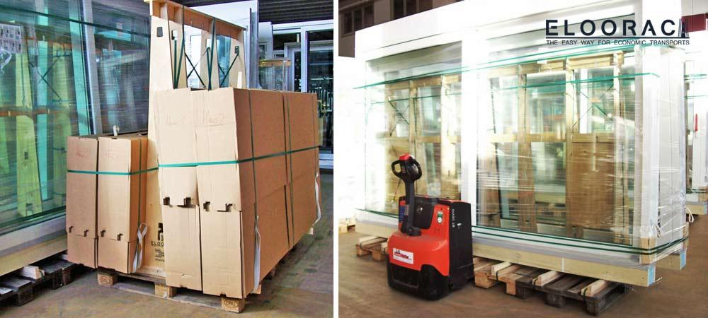 Karton verpackte Haustüren und Nebeneingangstüren werden auf Eloorac Transportgestellen für Fenster transportiert. Elektrische Hubwagen können mühelos die mit Fenstern voll gepackten Transportgestelle, aufgrund der Europaletten Basis, bewegen.