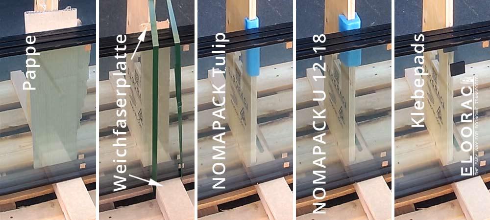 Abbildung verschiedener Möglichkeiten den Kanteschutz am Elooracc Transportgestell umzusetzen. Gut zu erkennen sind die verschiedenen, teilweise recht einfachen Mittel die in der Industrie als Schutz der Ware eingestezt werden. Hierzu gehören Weichfaserplatten, Wellpappe, Nomapac / NMC Tulip, Nomapac / NMC U 12 - 18 oder ganz einfache Klebepads die es in den verschiedenesten Ausführungen gibt.